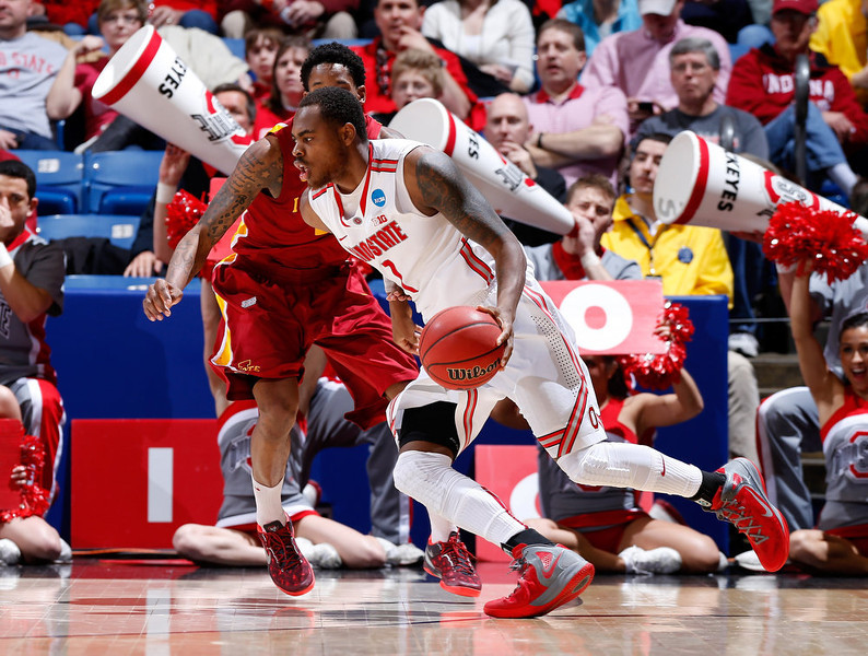 . Deshaun Thomas #1 of the Ohio State Buckeyes handles the ball against Will Clyburn #21 of the Iowa State Cyclones in the second half during the third round of the 2013 NCAA Men\'s Basketball Tournament at UD Arena on March 24, 2013 in Dayton, Ohio.  (Photo by Joe Robbins/Getty Images)