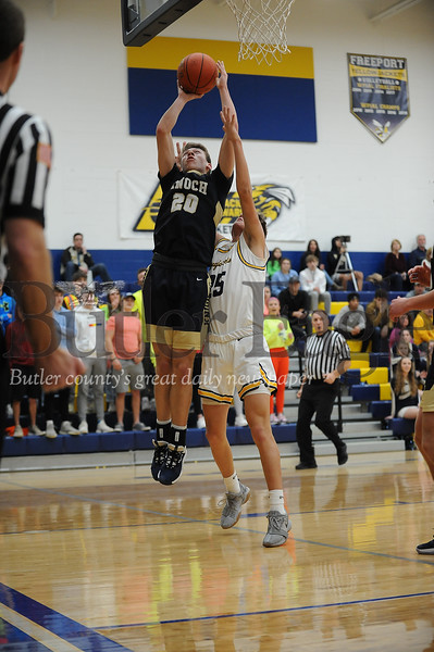 Knoch #20 Ron Plueger grabs the rebound from Freeport #25 Parker Lucas during a game at Freeport Gym on Tuesday January 14, 2020 (Jason Swanson photo)