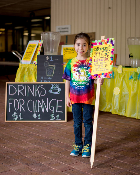Student Mar Brenner from the Early Childhood Development Center, set up her fundraising event in the spine.