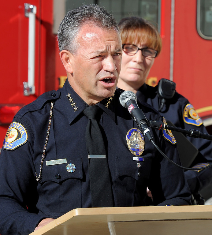 ". Pasadena Police Chie, Phillip Sanchez discussing new year-round Pasadena Police Department program, ""See Something Say Something\"" to prevent criminal behavior and terrorism at Fire Station 33 in Pasadena Monday, November 25, 2013. (Photo by Walt Mancini/Pasadena Star-News.)"