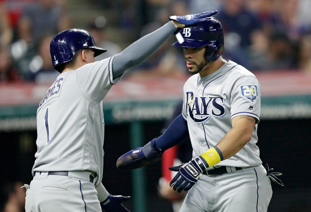 . Tampa Bay Rays\' Tommy Pham, right, is congratulated by Willy Adames after Pham scored in the sixth inning of a baseball game against the Cleveland Indians, Saturday, Sept. 1, 2018, in Cleveland. (AP Photo/Tony Dejak)