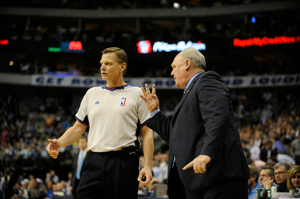 . The Denver Nuggets coach George Karl talks to the ref vs the Dallas Mavericks at American Airlines Center in Dallas Texas on May 11, 2009.     Joe Amon, The Denver Post