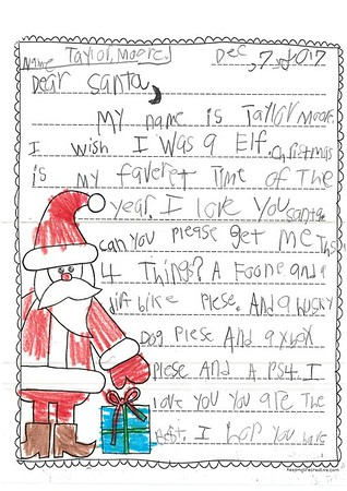 Letters to Santa, Mrs. Weir's second grade class