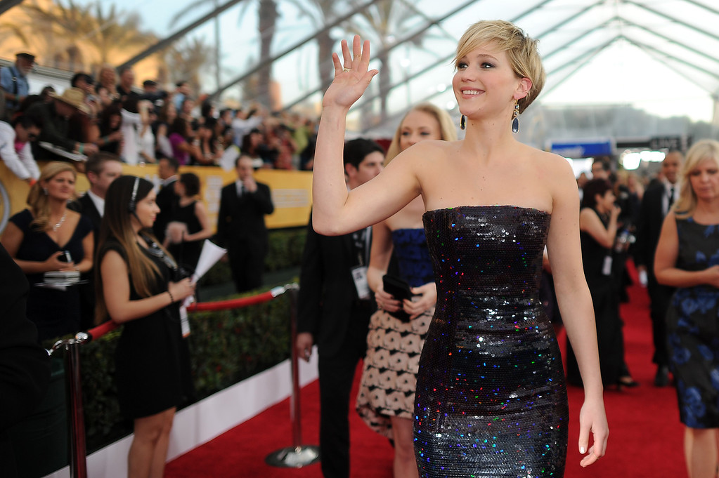 . Jennifer Lawrence on the red carpet at the 20th Annual Screen Actors Guild Awards  at the Shrine Auditorium in Los Angeles, California on Saturday January 18, 2014 (Photo by Hans Gutknecht / Los Angeles Daily News)