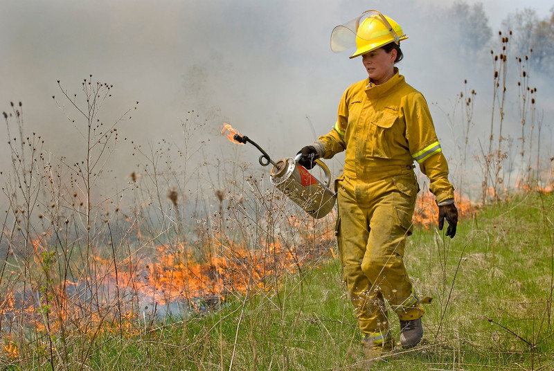 A Washtenaw Co. Parks naturalist works a controlled burn at Kosch-Headwaters Preserve in Superior Twp. Michigan.