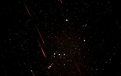 Leonid Meteor Shower over Orion Constellation, 11/18/2001