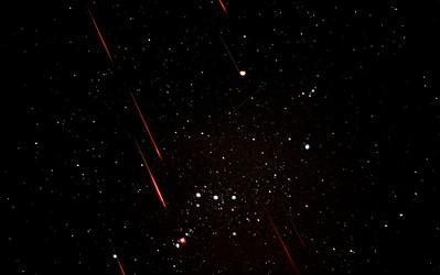 Leonid Meteor Shower over Orion Constellation, 11/18/2001