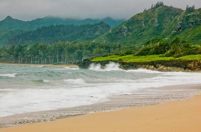 La'ie Beach on a misty day, Koolau Mountain Range in the background