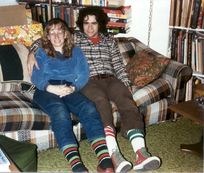 1984 Ellen Jim xmas socks at parents'