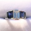 2.83ctw Vintage Emerald Diamond and Sapphire Trilogy Ring 13