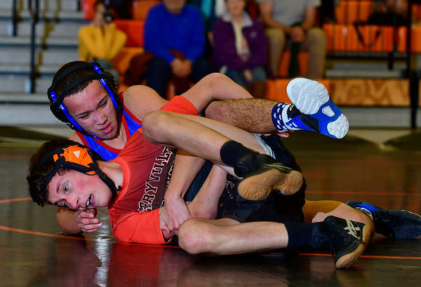 1/9/2019 Mike Orazzi | Staff St. Paul's Josh Silva and Terryville's Luke Saucier in a 132 match at Terryville High School Wednesday night.