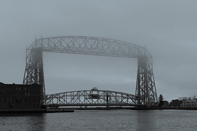 2021 04 12: Duluth, Life Bridge, Fog, Monochrome