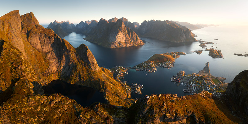 Reinebringen aerial drone 2 panorama hike hiking norway lofoten reine view sunrise landscape photography_1.jpg