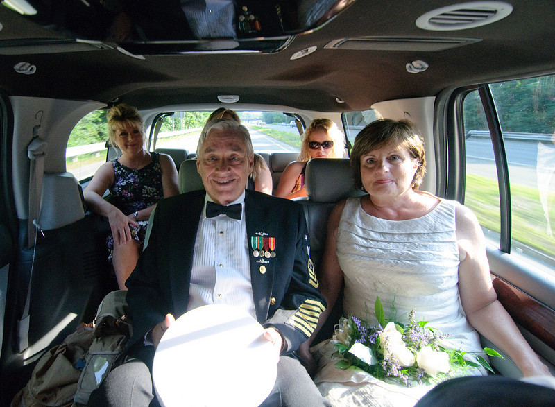 On the raod down, the nervous bride and groom