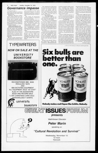 Daily Trojan, Vol. 65, No. 39, November 14, 1972
