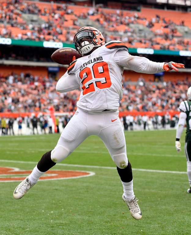 . Cleveland Browns running back Duke Johnson celebrates a touchdown during the second half of an NFL football game against the New York Jets, Sunday, Oct. 8, 2017, in Cleveland. (AP Photo/David Richard)