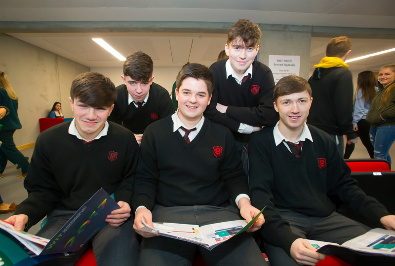 20/01/2017.  Waterford Institute of Technology (WIT) open day at WIT Arena. Pictured are Luke O'Donnell, Ian Gildman, Alex Gibbons, Thomas Cseh and John Cena from CBS High School Clonmel. Picture: Patrick Browne  With the traditional CAO deadline of 1 February fast approaching Waterford Institute of Technology (WIT) ran two open days at the €20m WIT Arena on its West Campus which opened in recent months. The Schools' Open Day on Friday, 20 January attracted secondary students and teachers from across the country. The #StudyatWIT Open Day on Saturday, 21 January was designed to give information for all prospective students and their families with information available on student supports from part-time and postgraduate courses to the institute's 70 CAO courses. Find out more at cao.wit.ie.