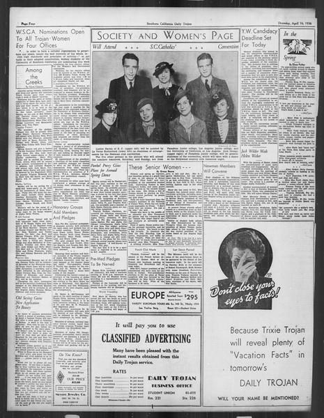 Daily Trojan, Vol. 27, No. 116, April 16, 1936