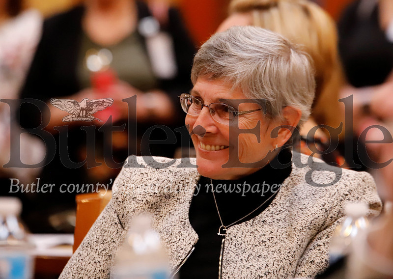 Butler native, judge Marilyn Horan smiles while being acknowledged  as one of three recipients of the United Way's Women's Leadership Council  History-Making Woman of Butler County award Thursday at the Pittsburgh Marriott North. Seb Foltz/Butler Eagle