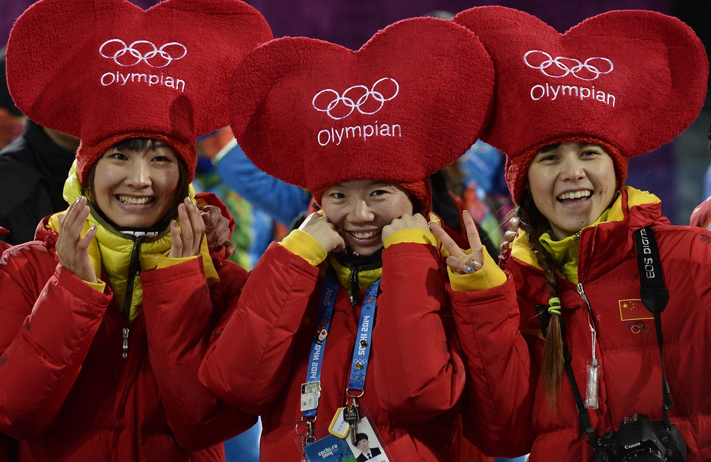 . Chinese supporters attend the Men\'s Freestyle Skiing Aerials finals at the Rosa Khutor Extreme Park during the Sochi Winter Olympics on February 17, 2014.  FRANCK FIFE/AFP/Getty Images