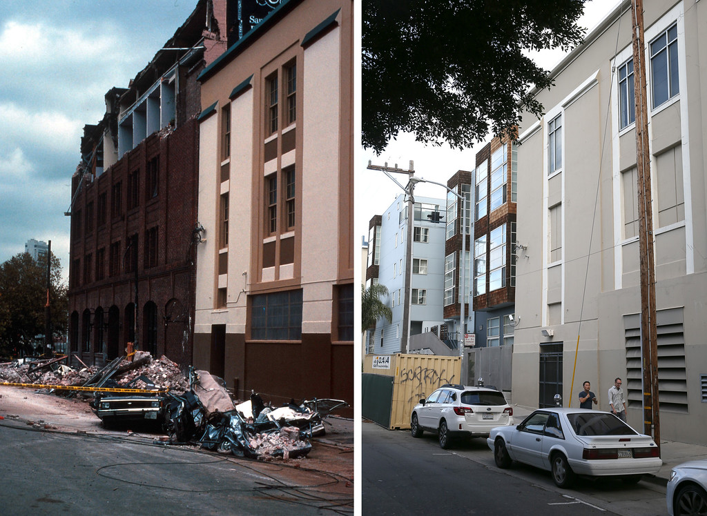 . In this before-and-after composite image, (Left) Cars are seen covered in bricks from a falling building facade following the Loma Prieta earthquake on October 17, 1989 in San Francisco, California. (Photo by C.E. Meyer/U.S. Geological Survey Photographic Library via Getty Images)   SAN FRANCISCO, CA - OCTOBER 15: (Right) Cars are parked along 6th Street near Townsend on October 15, 2014 in San Francisco, California. It has been 25 years since the 6.9 Loma Prieta earthquake rocked the San Francisco Bay Area at 5:04 PM on October 17, 1989 causing widespread damage to buildings and roadways. 63 people died and nearly 4,000 were injured.