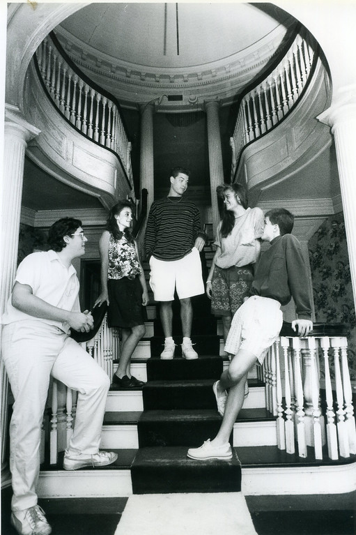 . Ridge Junior High School student council officers Matt Sucre, Lindsay Bessel, Steve Kersmarki, Amy Metzger and Aaron Hager got a tour of Mooreland Mansion at Lakeland Community College on July 23, 1990, afer donating $610 they raised for the mansion\'s renovation. (News-Herald file)
