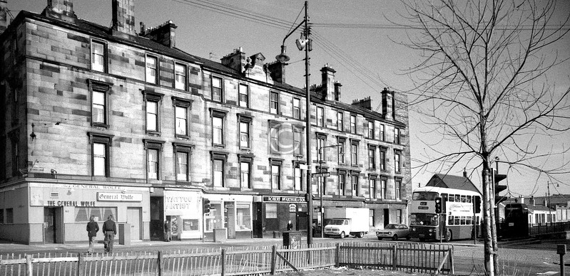 Gallowgate, north side opposite Fielden St.   Southwest corner of The Forge complex now.    March 1976