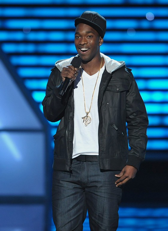 . Jay Pharoah speaks on stage at the ESPY Awards on Wednesday, July 17, 2013, at Nokia Theater in Los Angeles. (Photo by John Shearer/Invision/AP)