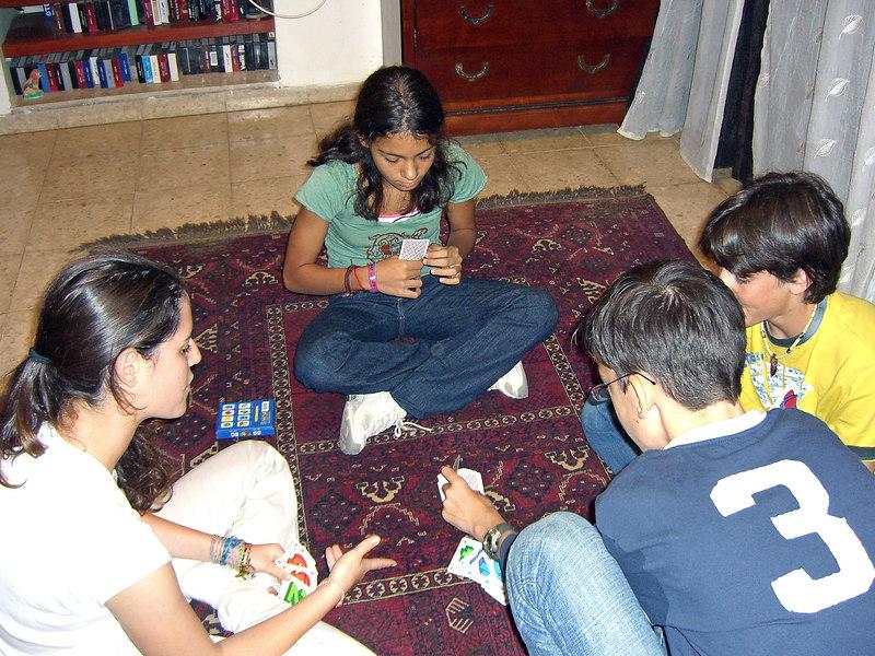 Ella Niv ,Naama Bahar, Daniel Niv, Matan Bahar, 20Oct06, in Kfar Netter.