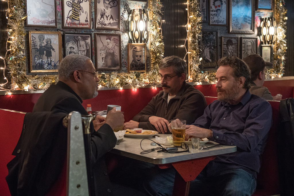 """. Laurence Fishburne, left, Steve Carell and Bryan Cranson share a scene in \""""Last Flag Flying.\"""" The movie is in theaters now. (Lionsgate)"""