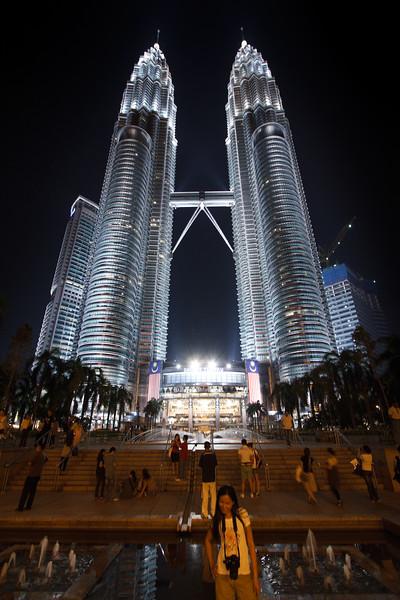 Night life scene at Petronas Towers.