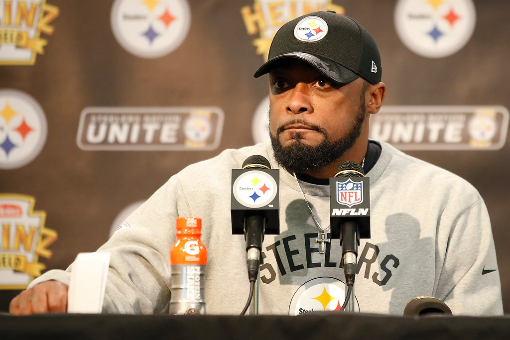 . Pittsburgh Steelers head coach Mike Tomlin speaks during a press conference following their 27-24 overtime win against the Cleveland Browns in Pittsburgh, Sunday, January 1, 2017. (AP Photo/Jared Wickerham)