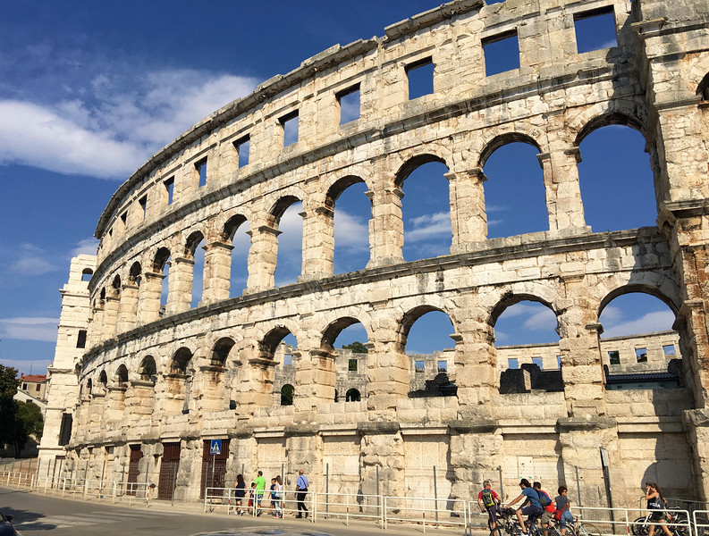 The Colosseum (or amphitheater) in the town of Pula was constructed in 27 BC – 68 AD