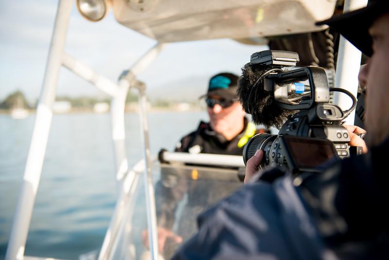 Anton interviews Jeff as we motor through the harbor.