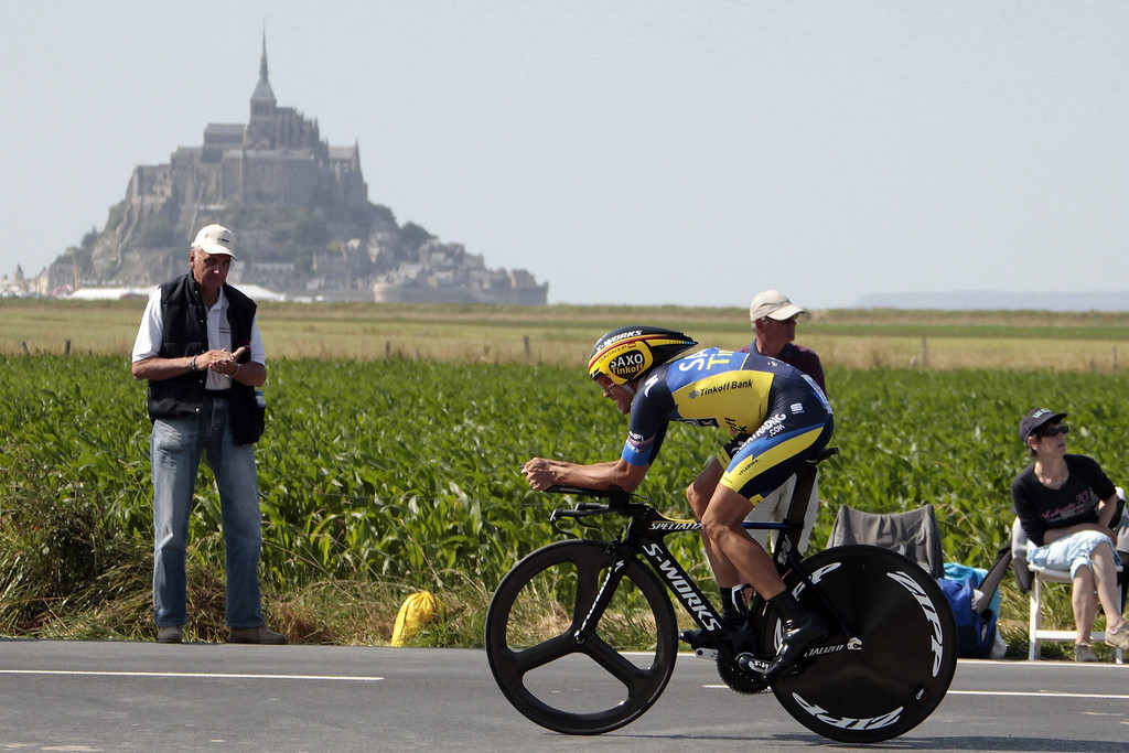 . Spain\'s Alberto Contador competes during the 33 km individual time-trial and eleventh stage of the 100th edition of the Tour de France cycling race on July 10, 2013between Avranches and Mont-Saint-Michel, northwestern France.     CHARLY TRIBALLEAU/AFP/Getty Images