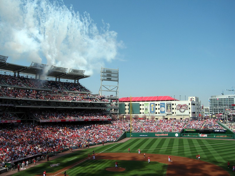 The Nationals' starting players take the field to fireworks