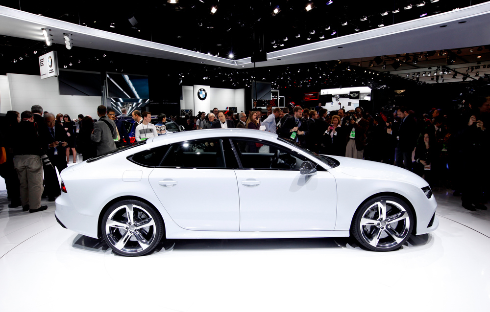 . The Audi RS7 debutes at media previews for the North American International Auto Show in Detroit, Monday, Jan. 14, 2013.  (AP Photo/Paul Sancya)