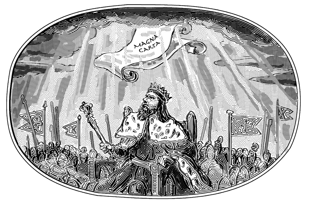 Drawing published on the 800th anniversary of the Magna Carta