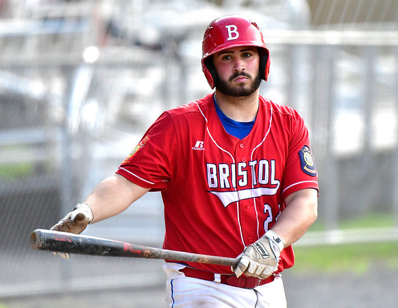7/2/2019 Mike Orazzi | Staff Bristol American Legion's Stephen Warkoski (21) at Muzzy Field in Bristol Tuesday night.