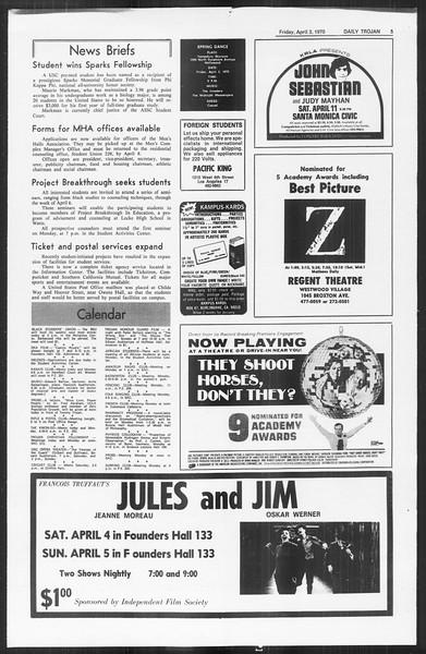 Daily Trojan, Vol. 61, No. 99, April 03, 1970