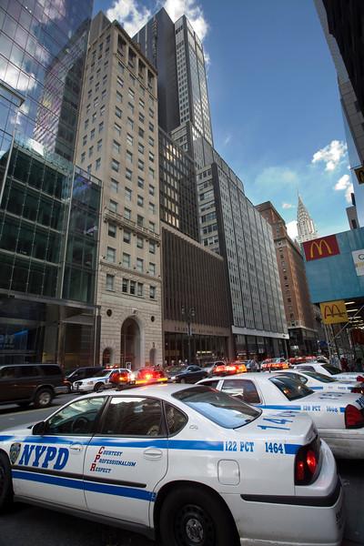 Police cars on 42th street, NYC, USA