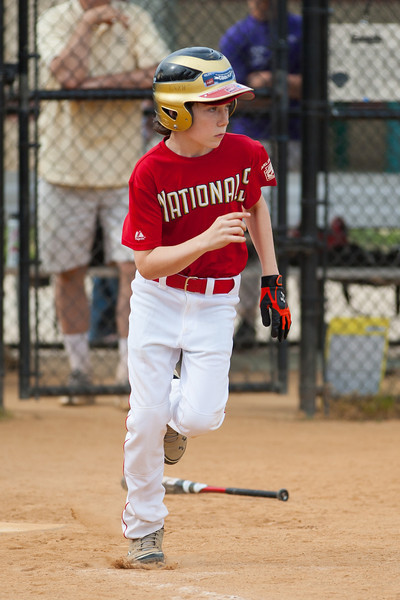 Toby connects but the throw beats him to 1st base to end top of the 4th inning with the Nats leading 3-1. The Nationals started out their season with a 4-1 win over the Pirates. 2012 Arlington Little League Baseball, Majors Division. Nationals vs Pirates (14 Apr 2012) (Image taken by Patrick R. Kane on 14 Apr 2012 with Canon EOS-1D Mark III at ISO 200, f2.8, 1/1600 sec and 180mm)