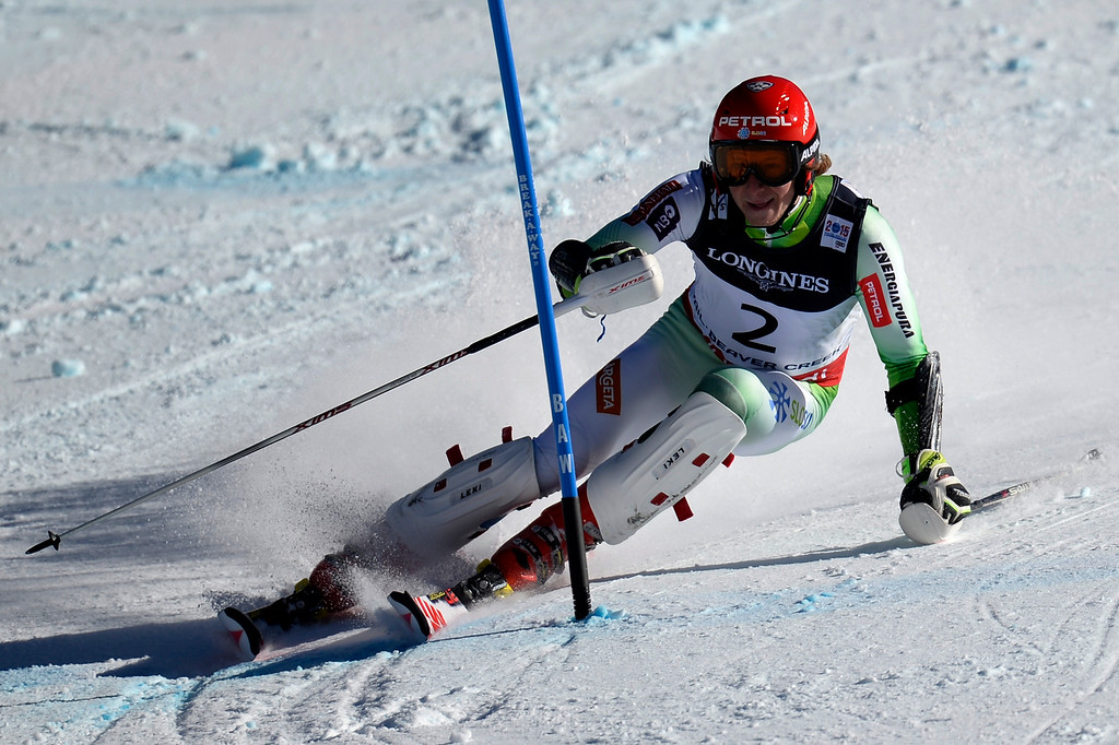 . BEAVER CREEK, CO - FEBRUARY 08: Klemen Kosi of Slovenia competes during the men\'s alpine combined final. FIS Alpine World Ski Championships 2015 on Sunday, February 8, 2015. (Photo by AAron Ontiveroz/The Denver Post)