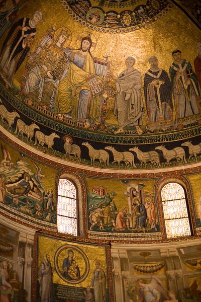 Mosaics by Pietro Cavallini, apse of Santa Maria in Trastever basilica, Rome