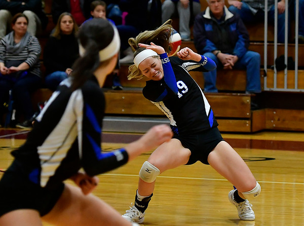 11/14/2018 Mike Orazzi | Staff Bristol Eastern's Amber Blais (19)  during the Class L Semifinal State Girls Volleyball Tournament with Woodstock Academy held at Windsor High School Wednesday night.