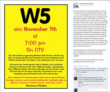 Alberta Wild Horses - W5 - CTV Nov. 7th, 7PM