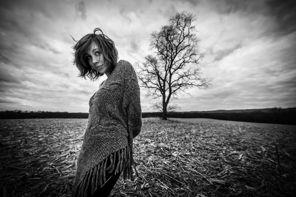 Favorite things; Field; Girl in a field; People; Places; Seasons; Tara Smith; Tree; Winter; corn field; friends; ominous; photos by Gabe DeWitt; shy
