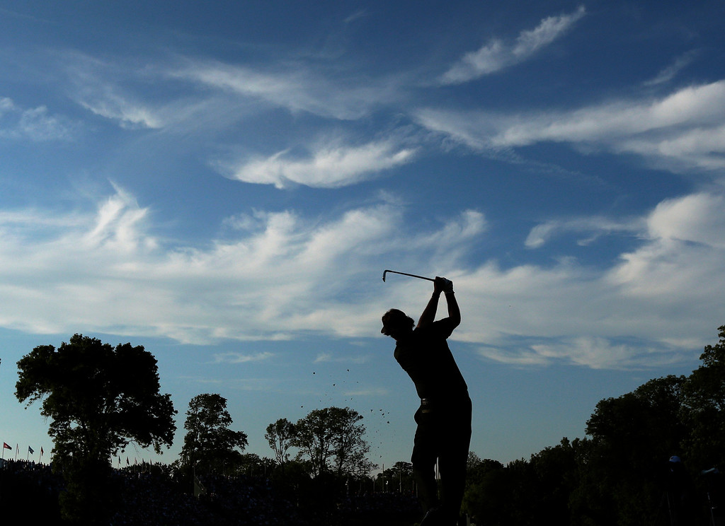 . Phil Mickelson tees off on the 17th hole during the fourth round of the U.S. Open golf tournament at Merion Golf Club, Sunday, June 16, 2013, in Ardmore, Pa. (AP Photo/Charlie Riedel)