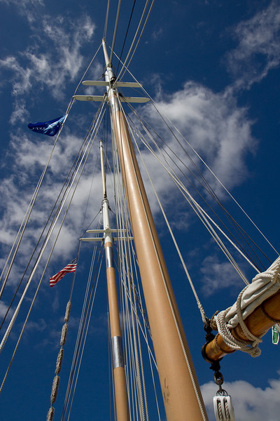 Mast of the tall ship, Appledore IV docked at Detroit.