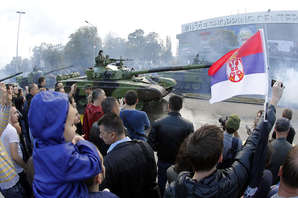. Serbian Army tank M 84A roles past spectators during a military parade in Belgrade on October 16, 2014. ANDREJ ISAKOVIC/AFP/Getty Images